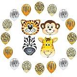 Safari Jungle Zoo Animals Jumbo Balloons Zebra, Tiger, Giraffe & Monkey 16pcs
