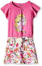 Nauti Nati Girls Dress (NAW16-577_Ecru and Pink_5Y)