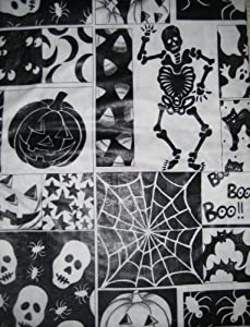 Halloween Skeleton, Skull, Jack-o-lantern Black and White Vinyl Tablecloth (52in X 70in Oblong)