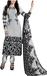 Go Traditional Women's Georgette Unstitched Dress Material (Grey)