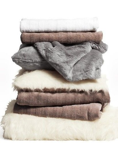 Faux Fur Throw Blanket - White