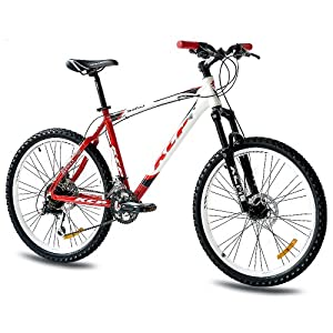 "26"" KCP VTT VÈLO HOMME SIKO ALU 24 Vitesses SHIMANO Alivio blanche rouge (wr) - 66,0 cm (26 Pouces)"