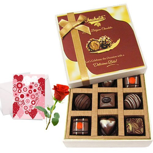 My Sweet Chocolate Collection With Love Card And Rose - Chocholik Luxury Chocolates