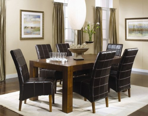 Buy Low Price Coaster 7pc Dining Table & Parson Chairs Set Black Leather Walnut Finish (VF_Dinset-101201-101202)