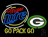 "Miller Lite Green Bay Packers Beer Neon Sign 24"" Tall x 31"" Wide x 3"" Deep at Amazon.com"