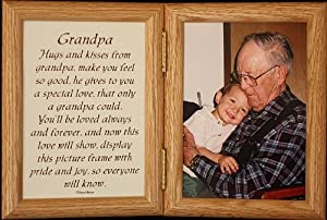 5x7 Hinged GRANDPA Poem Oak Picture Photo Frame ~ Grandkids Gift to Grandpa