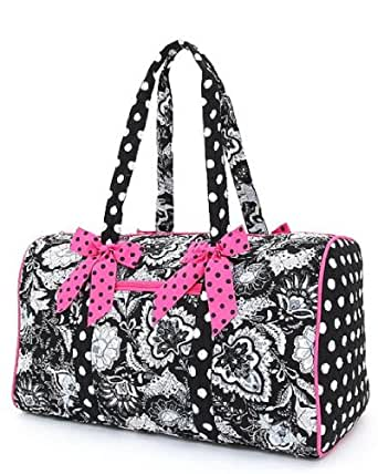 """Belvah Large Quilted Floral 21"""" Duffle Bag - Choice of Colors (Black/Fuchsia)"""