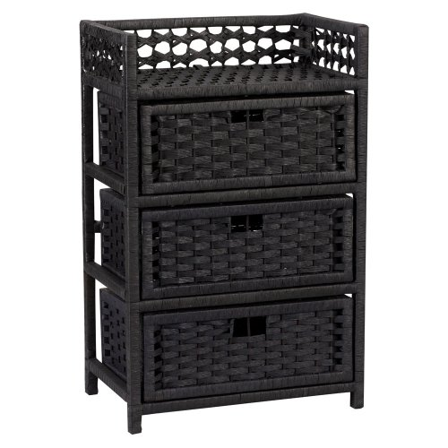 Household Essentials ML-7002 Chest with 3 Drawers, Paper Rope, Black Stained