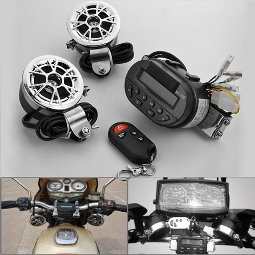 1 Set Waterproof Motorcycle Grow Light Lcd Display Mmc Sd Card Slot Audio Radio Remote Control Anti Theft Alarm Unit + 2X Handle Bar Speakers Amplifier Sound System