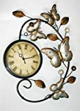 Contemporary Silver & Gold Butterfly Metal Wall Art with Clock