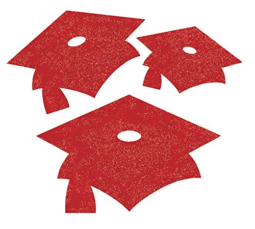 Creative Converting 12 Count Glitter Graduation Cap Cutouts, Mini, Red