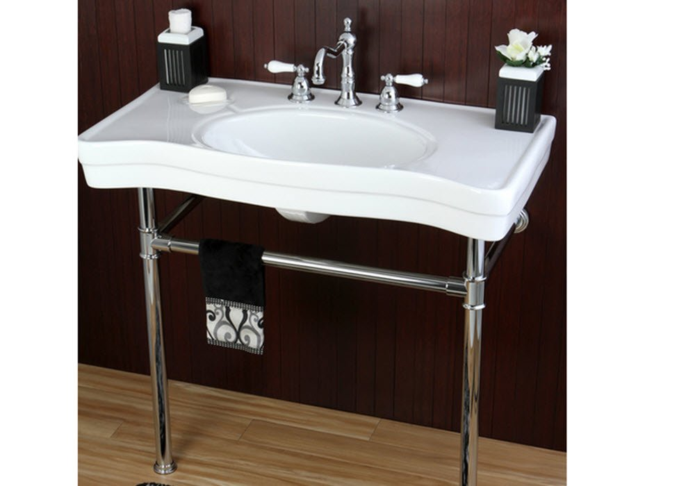 36 Inch Wall Mount Chrome Pedestal Vintage Bathroom Sink