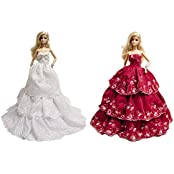 Barbie Prom White & Red Strapless Layered Wedding Gown (2 Gown Set) White And Red