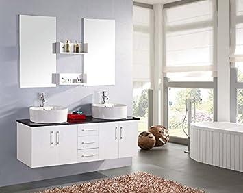 Mobile bagno LION arredo bagno arredobagno 150 cm bianco laccato mobile + lavandini + specchi + 2 miscelatori completo moderno IL PIU VENDUTO