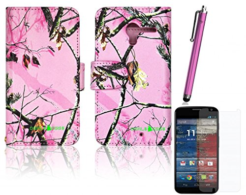 Combo - (Case + Charging Kit + Screen Protector + Stylus) - Pink Camo Cute Real Oak Tree Mossy Faux Leather Wallet Purse Clutch Handbag Motorola Moto X Phone Case Cover With Clear Slot For Id, Credit Card Slots And Hidden Slot For Cash By Dealseggs®