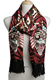 Ed Hardy Womens Flag Tiger Knit Scarf -Red/Black