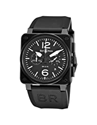 Affordable!! Bell & Ross Men's BR-03-94-CARBON Aviation Black Chronograph Dial Watch Watch Limited time