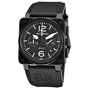 Bell & Ross Men's BR-03-94-CARBON Aviation Black Chronograph Dial Watch Watch