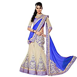 Aahira White Net Embroidered Semi Stiched Fancy Lahenga Choli Material