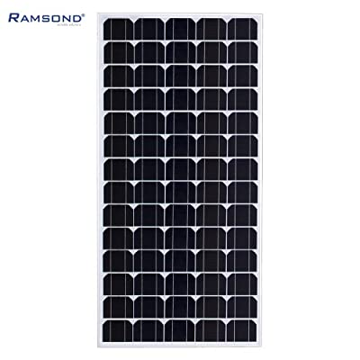 Ramsond 120 Watt Monocrystalline Photovoltaic PV Solar Panel Module - 12V 120w W Battery Charging Includes Cables with MC4 Connectors - 25 Year Power Warranty by Ramsond