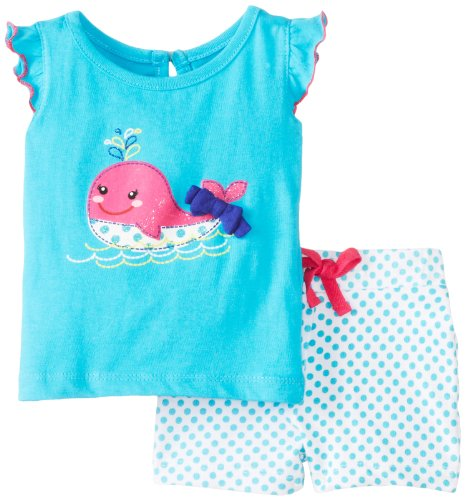 Kids Headquarters Baby-Girls Newborn Top with Printed Shorts Whale