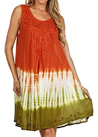 Sakkas Women's Multi Tie Dye Tank Dress