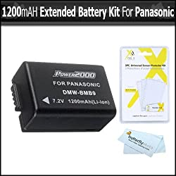 Battery Kit For Panasonic Lumix DMC-FZ70 DMC-FZ70K DMC-FZ60 DMC-FZ60K DMC-FZ100 DMC-FZ40 DMC-FZ47 DMC-FZ150 Digital Camera Includes Extended Replacement DMW-BMB9 Rechargeable Lithium-Ion Battery (1200Mah) (with Info-Chip!) + LCD Screen Protectors + More