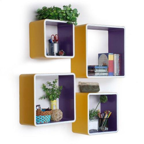 Trista - [Young Girls] Square Leather Wall Shelf / Bookshelf / Floating Shelf (Set Of 4) front-721001