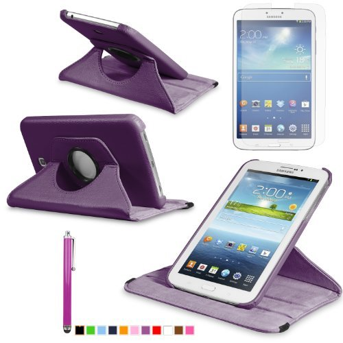 360 Degree Rotating Cover Case for Samsung Galaxy Tab 3 7.0 SM-T210 / SM-T217 With Screen Protector and Stylus Galaxy tab 3 7 case From Sheath TM [ Does not Fit Galaxy Tab 3 Lite SM-T110 ] (Purple)