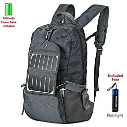 Solar Charger Backpack Sourcingbay Solar Bag 3.5W with 2000mAh Power Bank Foldable Solar Panel for Hiking, Travel, Backpacking, Camping Charge for Smart Phones, GPS, Speakers, GOPRO, Cameras