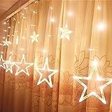Étoiles Lumières de Rideaux, 12 Étoiles 138 Leds Diodes Guirlande lumineuse Eclairage Décoration pour Noël, Fête, Vacances, Mariages, Fenêtres, Rideaux...