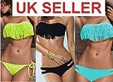 Sexy fashion tassels bikini swimwear ladies swimsuit padded size 8 10 12 14