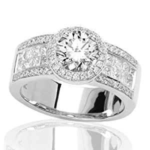 2.03 Carat IGI Certified Halo Style Pave Set Round And Channel Set Princess Cut Diamond Engagement Ring
