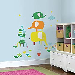 RoomMates RMK2717GM Zutano Elephantasia Peel and Stick Giant Wall Decals