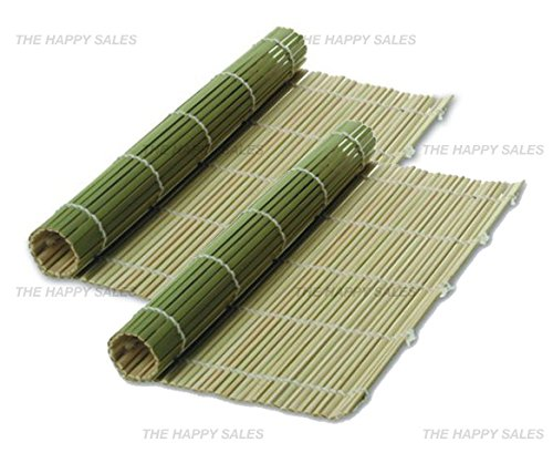 Happy Sales Bamboo Sushi Mats Green - 2 pc (Sushi Rice Bamboo Bowl compare prices)