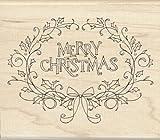 Inkadinkado Holly Framed Merry Christmas Wood Stamp
