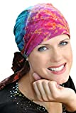 Cotton Batik Tie Dye Head Scarf for Women with Cancer, Chemo, Hair Loss - Sunburst Tie Dye-Purple Bl