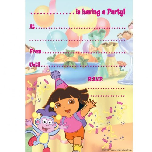 Dora The Explorer Party Invitation Pad of 20 Party Invites - Dora The Explorer Party Supplies