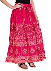Rangsthali Cotton Gold printed long Skirt for Girls/Womens