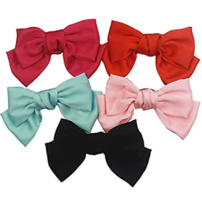 """5 Pcs Large Big Huge 8"""" Soft Silky Hair Bow Clip Lolita Party Oversize Handmade Girl French Barrette Style Hair Clips"""