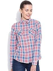 VAAK Women's Orange Check Shirt 100% Cotton(XS)