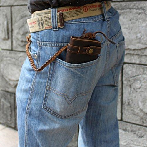 Tiding Men's Brown Crazy Horse Leather Wallet Vintage Style Card Holder Bifold 33777 5