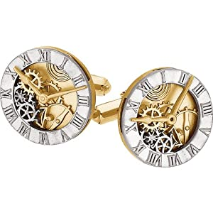 14KT Two-Tone Gold Clock Cuff Links