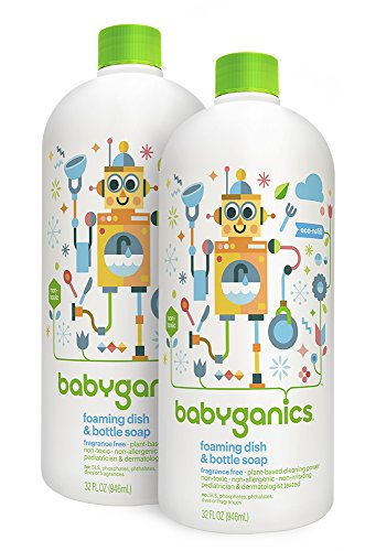 Babyganics Foaming Dish and Bottle Soap Refill, Fragrance Free, 32oz Bottle (Pack of 2) (Baby Dishwasher Detergent compare prices)