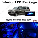 Ameritree Blue LED Lights Interior Package + Blue LED License Plate Kit for Toyota 4Runner 2003-2014 (12 Pieces)