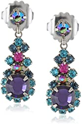 """Sorrelli """"Northern Lights"""" Round Crystal Cluster Silver-Tone Drop Earrings"""