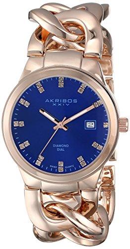 Akribos XXIV Women's Lady Diamond-Accented Rose Gold-Tone Watch