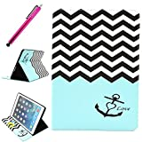 iPad Air Leather Case, JCmax Protective Cover [Card Slots] [Durable Cover] Flip Premium Foldable New Book Style PU Leather Wallet Kickstand Case Smart Cover Skin Protection For Apple iPad Air, Come with One Stylus - [Anchor Pattern Design]