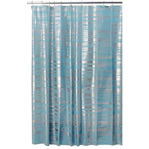 Amazon.com: InterDesign Design Blaze Eva Shower Curtain, Aqua ...