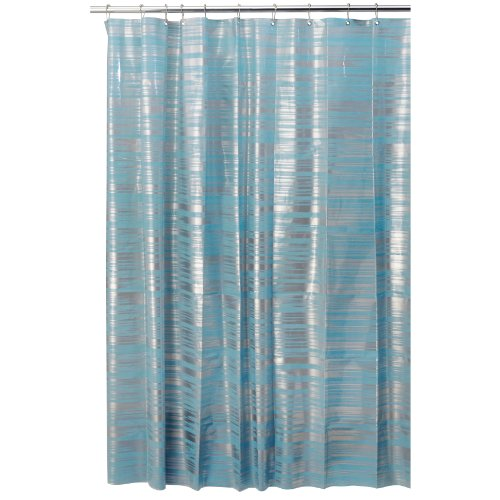 InterDesign Design Blaze Eva Shower Curtain, Aqua/silver, 72 Inch X 72 Inch